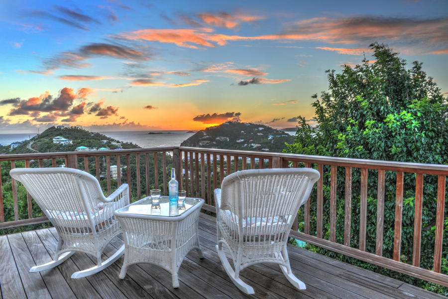 A beautiful sunset over a deck in st john