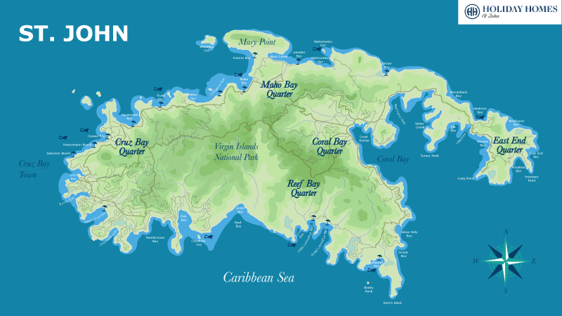 Map of St. John featuring Cruz Bay, Maho Bay, Coral Bay, Reef Bay, and East End Quarter